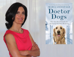 Maria Goodavage dressed in a red dress with arms crossed is smiling at the camera. Next to her is the cover of her book